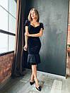 Женское черное бархатное платье миди с коротким рукаво (р. XS, S, M) 14plt1585, фото 3