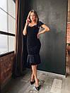 Женское черное бархатное платье миди с коротким рукаво (р. XS, S, M) 14plt1585, фото 5