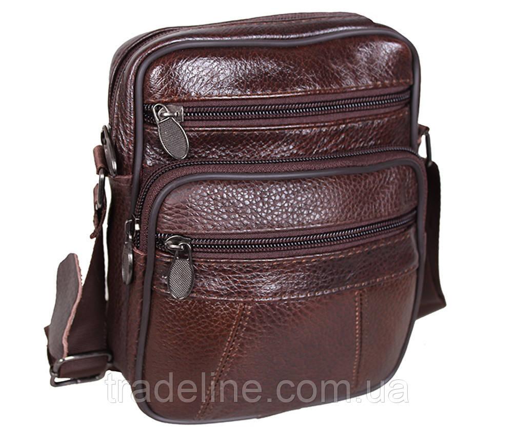 Мужская кожаная сумка Dovhani Bon AR010-1329 Коричневая 19 x 16 x 7 см.