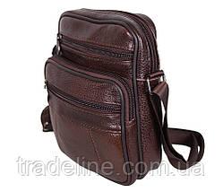 Мужская кожаная сумка Dovhani Bon AR010-1329 Коричневая 19 x 16 x 7 см., фото 2
