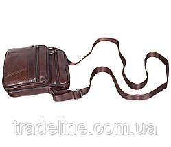Мужская кожаная сумка Dovhani Bon AR010-1329 Коричневая 19 x 16 x 7 см., фото 3
