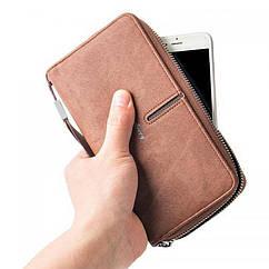 Мужской кошелек клатч портмоне барсетка Baellerry Denim S1514 Coffee Кофе
