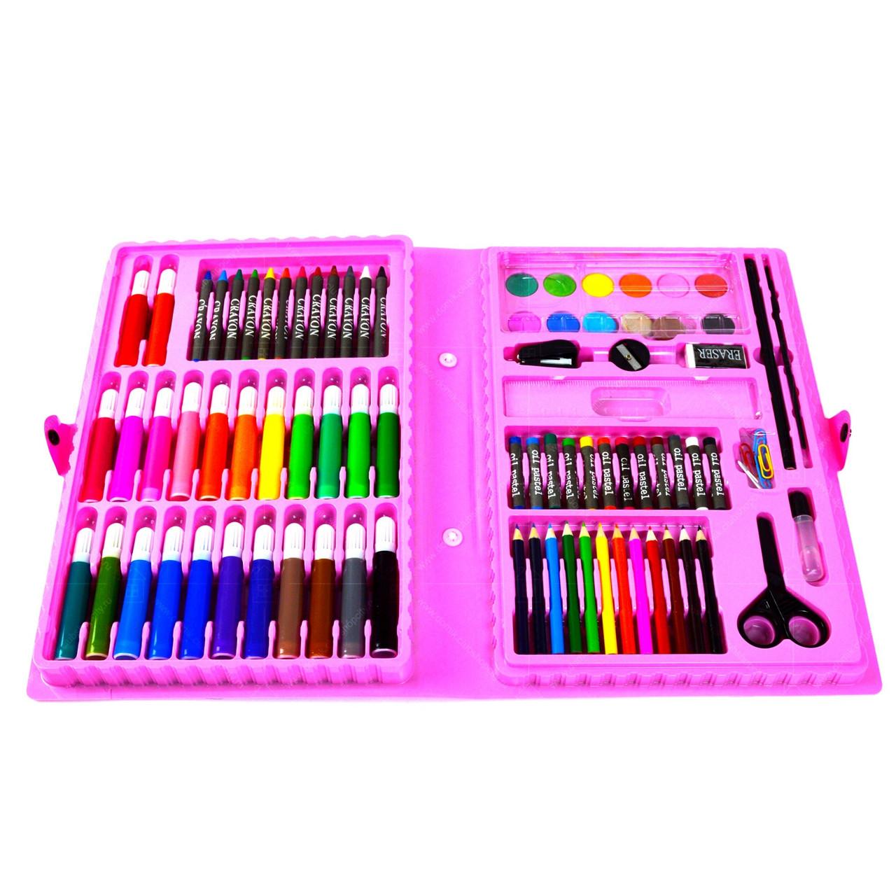 Детский набор для рисования в чемоданчике 86 предметов розовый набор для творчества