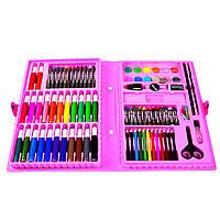 Детский набор для рисования в чемоданчике 86 предметов розовый набор для творчества, фото 1