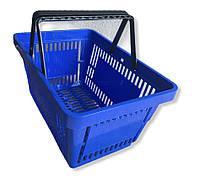 Корзины покупательские синие. Пластиковые корзины покупателя синие. Корзинки для магазина Кошик закупівельни, фото 1