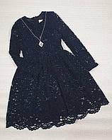 Нарядное платье с украшением для девочки темно-синие на рост 122,128,134,140,146,152 см,Украина