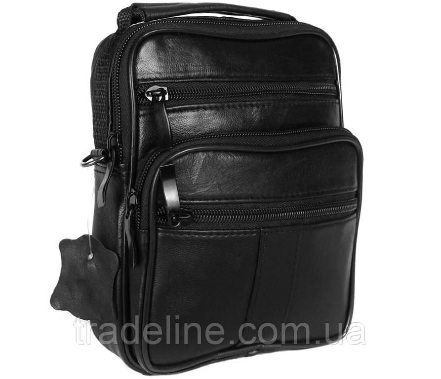 Мужская кожаная сумка Dovhani ABL3016156 Черная 19 x 15 x 7 см