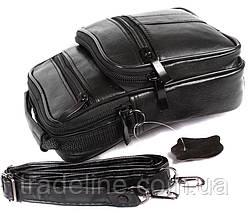 Мужская кожаная сумка Dovhani ABL3016156 Черная 19 x 15 x 7 см, фото 3