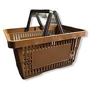 Корзины покупательские коричневые. Пластиковые корзины в магазин. Корзина покупателя для супермаркета, фото 1