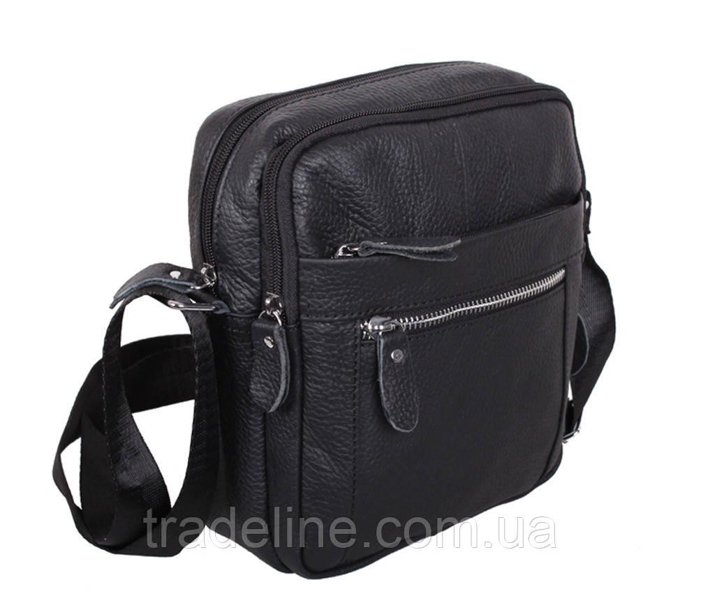 Мужская кожаная сумка Dovhani ADov-3922-45 Ш19 х В21 х Г7,5-8,5см Черная