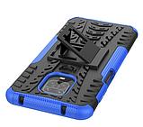 Противоударный чехол Протектор Armored для Xiaomi Redmi Note 9s / Redmi Note 9 Pro с подставкой Цвет Синий, фото 3