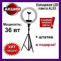Кольцевая лампа AL-33 для селфи диаметр 33 см с держателем и пультом