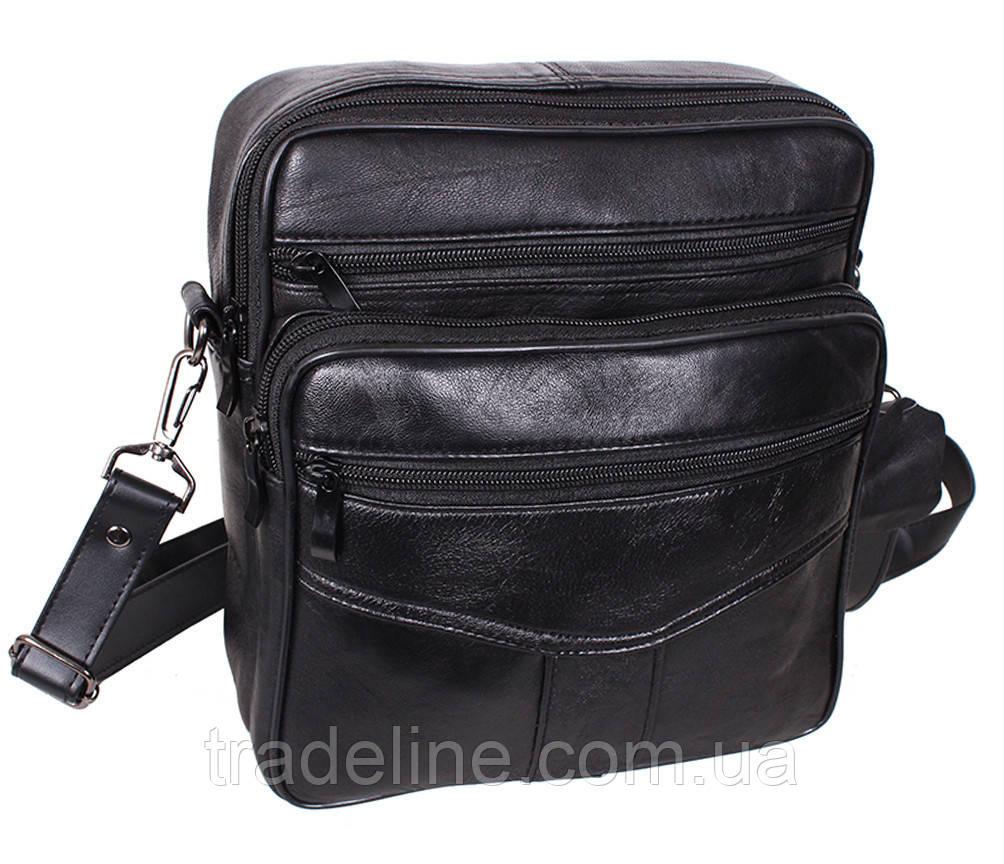 Мужская кожаная сумка Dovhani ASW2014-174 Черная 24 x 20 x 10 см