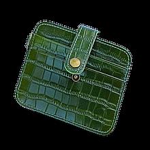 Кожаный картхолдер «Geeson Crocodile» на 4 отделения зеленый