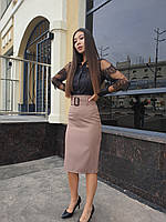 Женская юбка ниже колен с поясом (р. S M L) 45mju428, фото 1