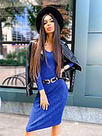 Женское платье-лапша длины миди из ткани рибана (р 42-46) к5mpl1583, фото 1