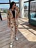 Женский брючный костюм тройка с топом, штанами карго и удлиненым пиджаком под пояс 66mko1123Q