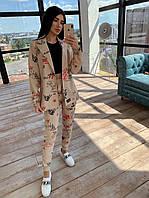 Женский брючный костюм тройка с топом, штанами карго и удлиненым пиджаком под пояс 66mko1123Q, фото 1