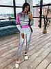 Женский спортивный костюм из светоотражающей ткани с укороченным худи р. 42 и 44 66msp1056Е