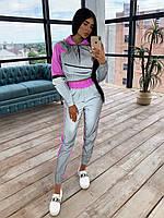 Женский спортивный костюм из светоотражающей ткани с укороченным худи р. 42 и 44 66msp1056Е, фото 1