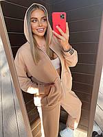 Женский спортивный костюм - штаны, кофта с капюшоном и карманом кенгуру из трехнитки (р. 40-54) 18msp1063, фото 1