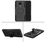 Противоударный чехол Протектор Armored для Xiaomi Redmi Note 9 с подставкой Цвет Чёрный, фото 3