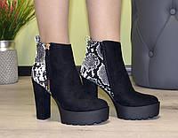 Ботильоны женские ботинки черные рептилия демисезон на широком высоком устойчивом каблуке экозамша b-209