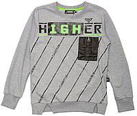 """Свитшот для мальчика детский """"Higher"""" """"Carrinos"""", Серый, 134(134-152), 134 см"""