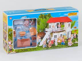 Домик Happy Family 012-01 мебель, 2 фигурки флоксовых животных, подсветка (аналог Sylvanian Families)