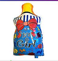 Фольгированный шар фигурный бутылочка с надписью это девочка 57*38 см голубой