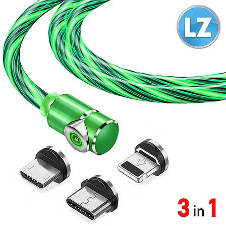 Магнитный кабель TOPK 3в1 (LZ) для зарядки (100 см) Green, фото 2