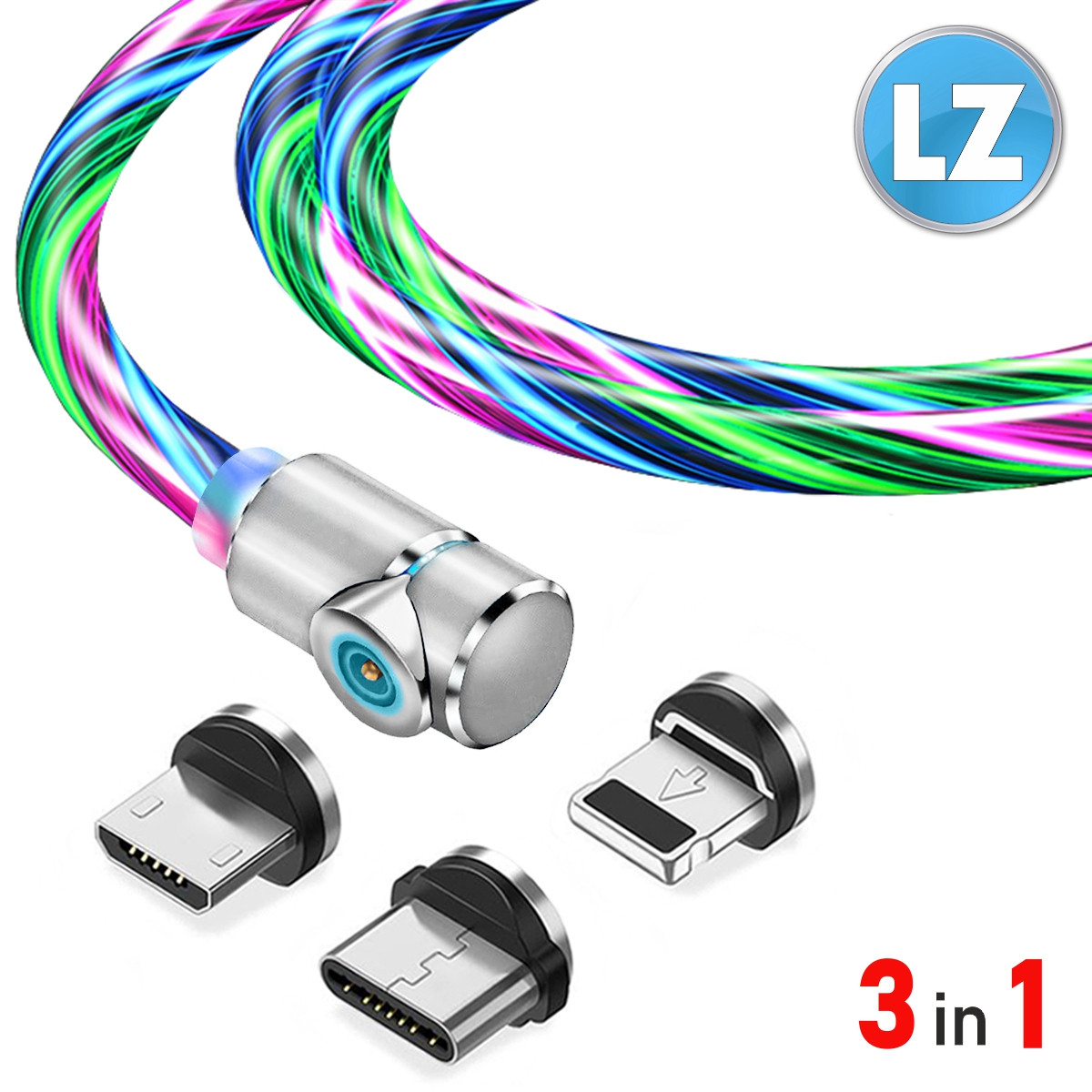 Магнитный кабель TOPK 3в1 (LZ) для зарядки (100 см) RGB