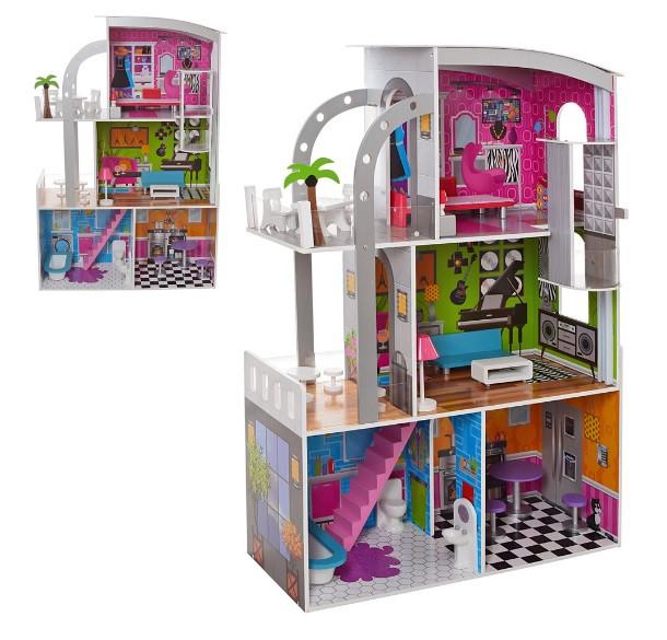 Домик для кукол 30 см. деревянный с мебелью 3 этажа MD 2012