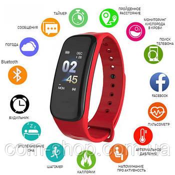 Фитнес-браслет C1, red умные смарт часы, шагомер Smartband