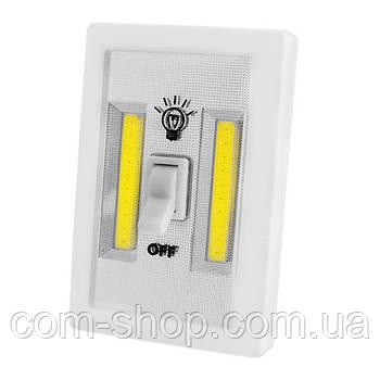 Подсветка светодиодная универсальная в виде выключателя FH68-2COB, магнит, липучки, 3хAAA ночник