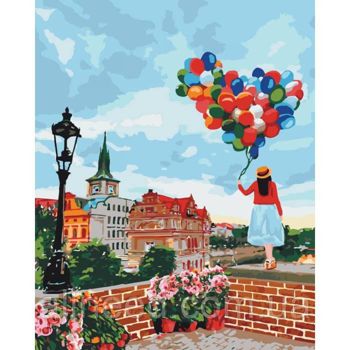 """Картина мо номерам. Городской пейзаж """"Гуляя по Праге"""" 40*50см * KHO3518"""