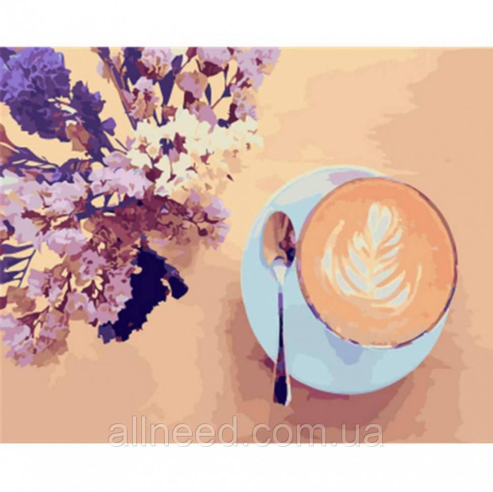 """Картина за номерами Brushme """"Лавандовий кави"""" GX22206"""