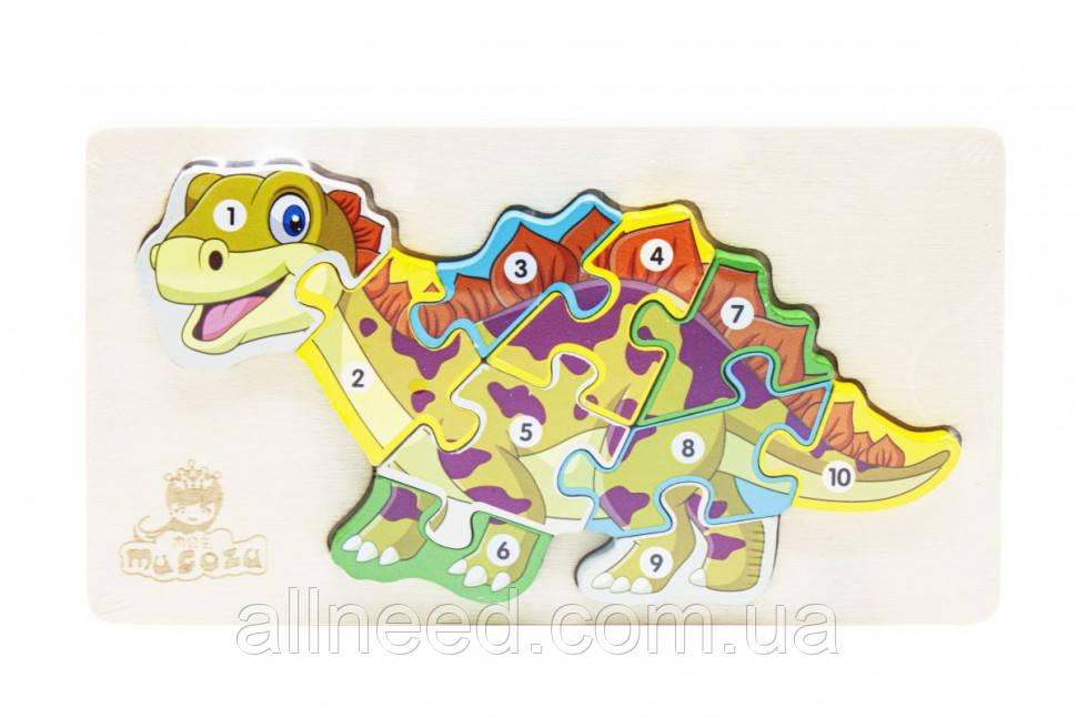 Деревянная игрушка Пазлы динозавры, с нумерацией MD 2507 (Стегозавр MD 2507-5)