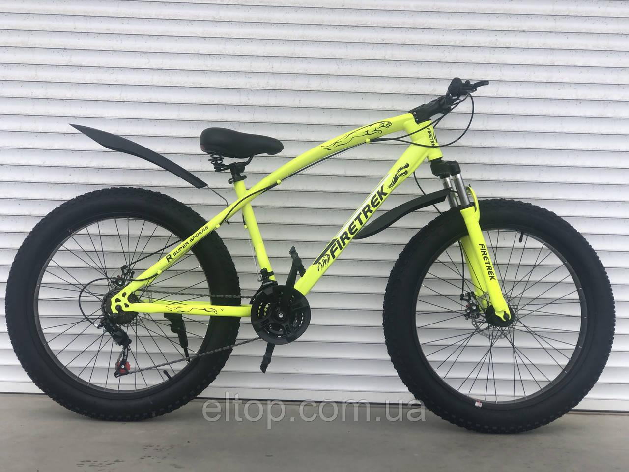 Велосипед ФЕТБАЙК Спорт 26 дюймов Горный спортивный велосипед FatBike 215 САЛАТОВЫЙ Внедорожник Fat Bike