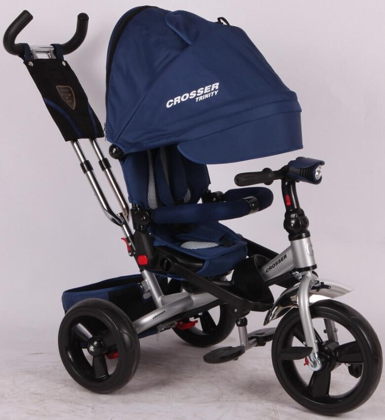 Детский трехколесный велосипед -коляска  Crosser T-400 TRINITY AIR синий