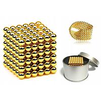 Головоломка Неокуб золотой NeoCube в боксе 216 шариков металлический 5 мм