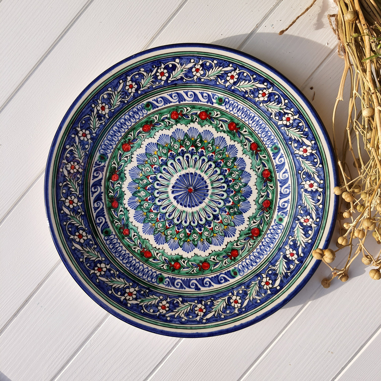 Тарелка плоская d 28 см ручной работы. Узбекистан (20)