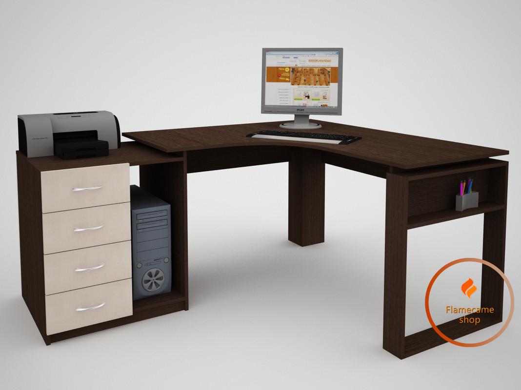 Комп'ютерний стіл кутовий з ящиками з ДСП. Код: ЕКО-13227