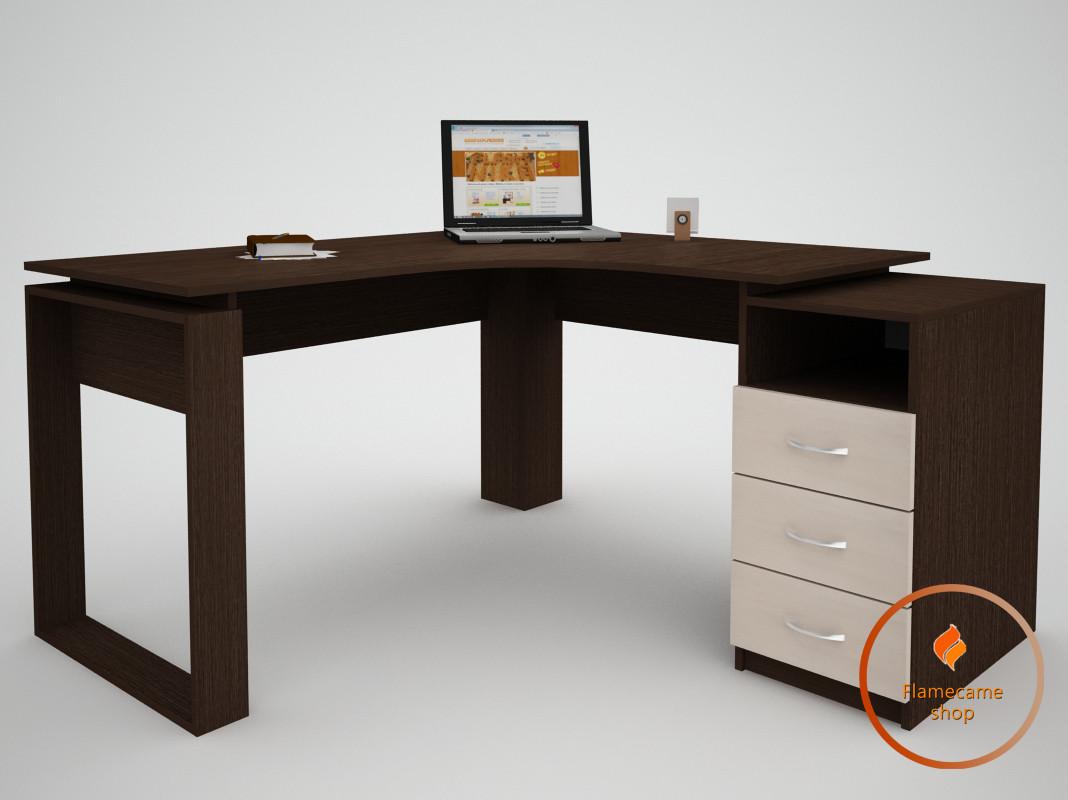 Комп'ютерний стіл кутовий з 3 ящиками і коміркою з ДСП. Код: ЕКО-13232