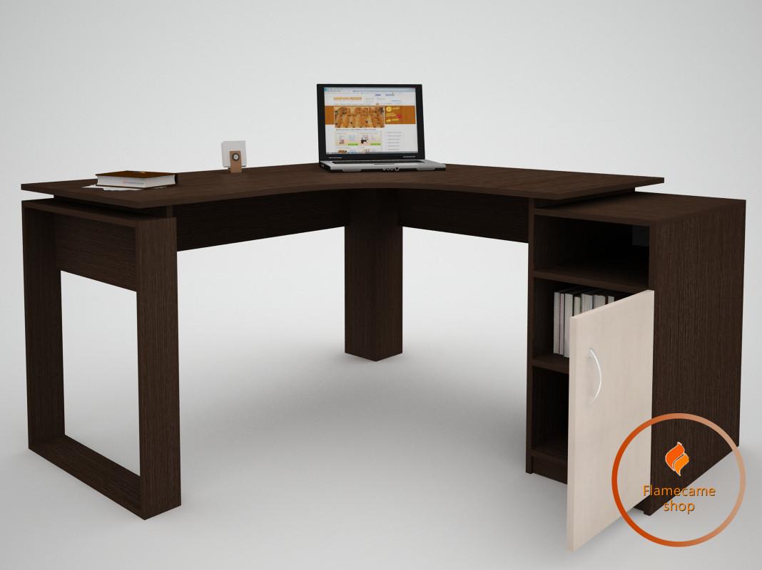 Компьютерный стол угловой с дверкой и ячейкой из ДСП. Код: ЕКО-13229