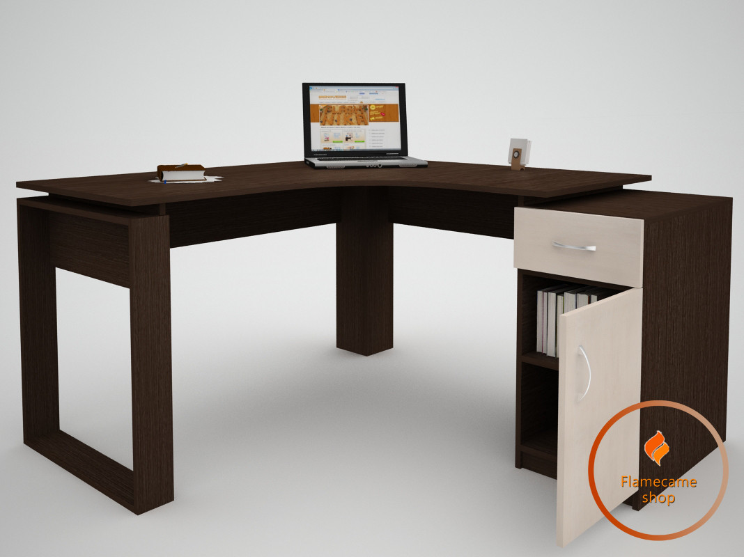 Комп'ютерний стіл кутовий з ящиком і дверцями з ДСП. Код: ЕКО-13231