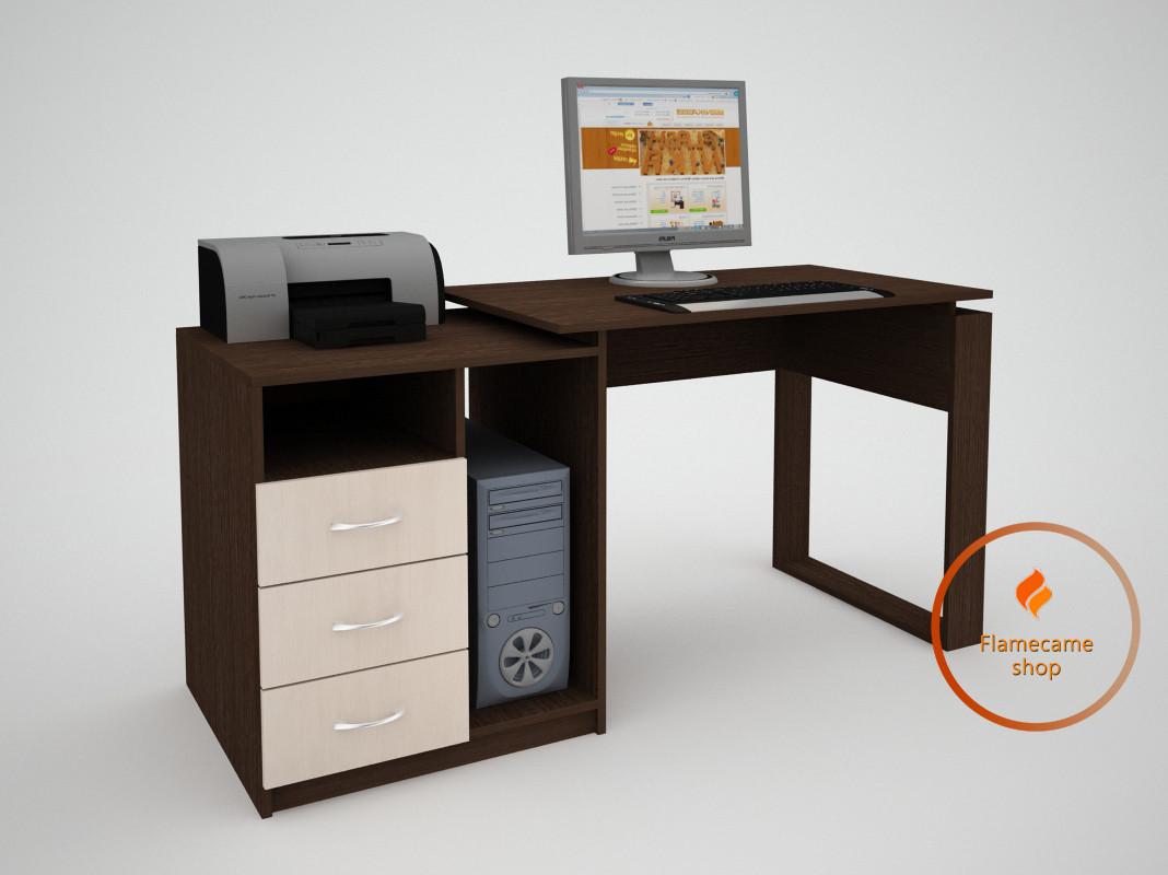 Компьютерный стол с 3 ящиками и ячейками из ДСП. Код: ЕКО-13219