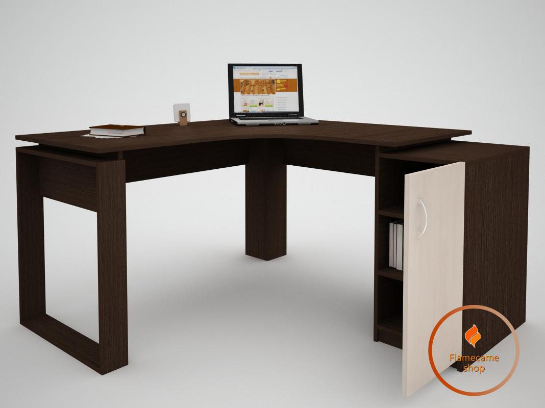 Компьютерный стол угловой с дверцей справа из ДСП. Код: ЕКО-13230