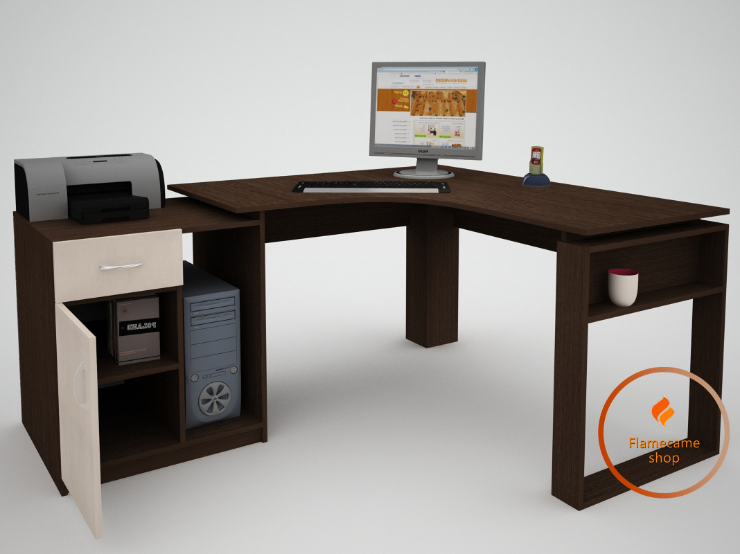 Комп'ютерний стіл кутовий з ящиком і дверцятами осередком з ДСП. Код: ЕКО-13225