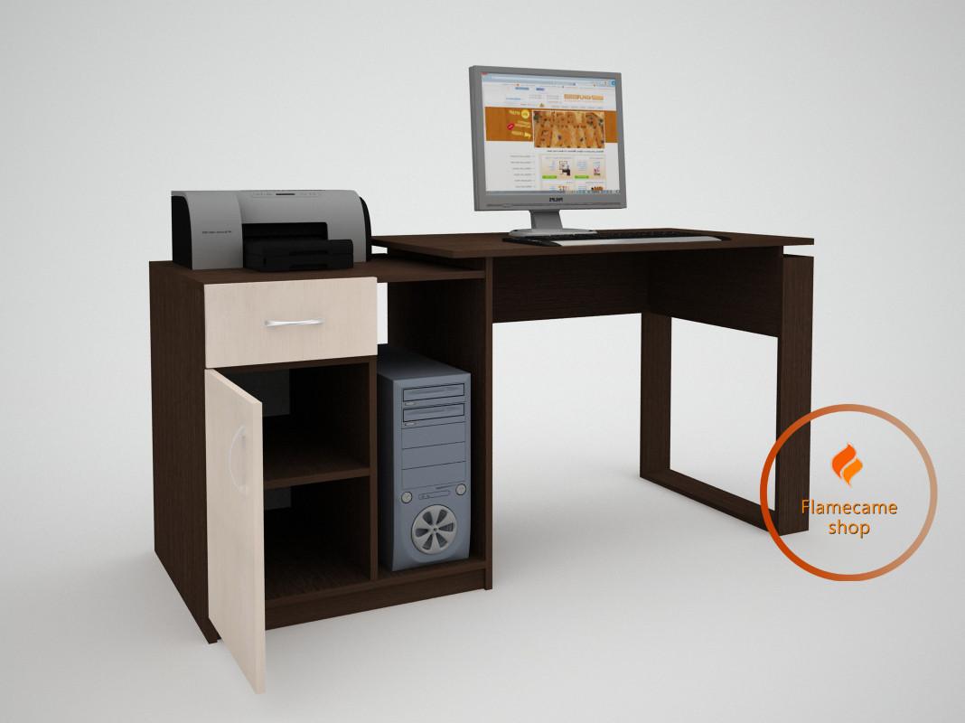 Комп'ютерний стіл з ящиком і дверцятами осередком з ДСП. Код: ЕКО-13218